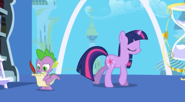 I hope Spike is getting work-study for his role as Twilight Sparkle's research assistant/scribe. Yeah quality academia joke right there. You know, it's never established in these episodes which accredited pony university is providing Twilight Sparkle a framework for her studies. Is independent pony study a thing in Equestria? I'm sure someone will end up explaining in the comments.