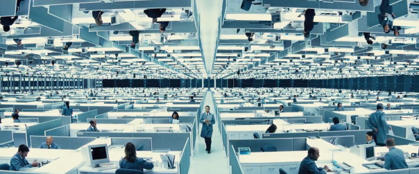 "VISUAL SPECTACLE AHOY! Why anyone would design an office like this falls under the category of ""questions we try not to ask because this movie is weirdly compelling in its way and poking at it too hard will just ruin things,"" so let's not ask it."